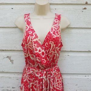 Lennie for Nina Leonard Red Tan Maxi Dress